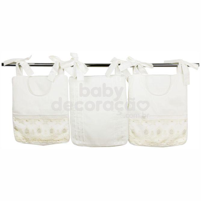 Porta Fraldas para bebê 03 peças Percal 300 Fios Lelis Marfim