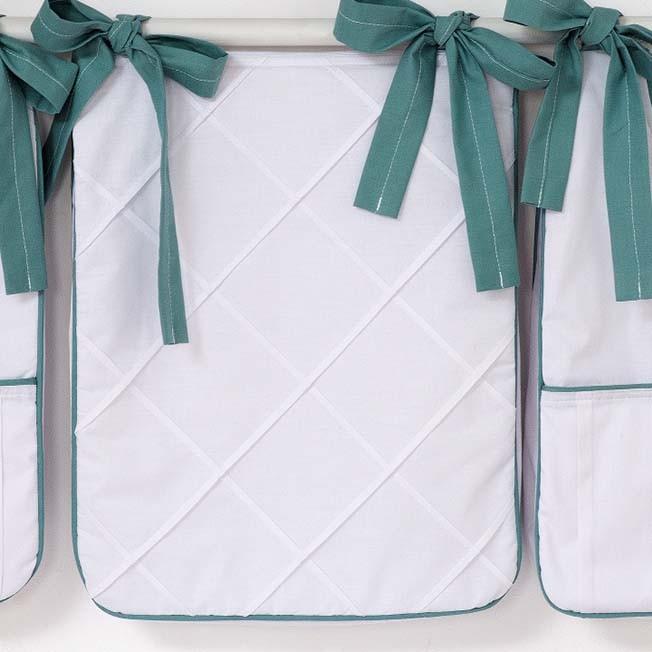 Porta Fraldas para Bebê 03 Peças 300 Fios Tenue Branco c/ Verde Balsamo