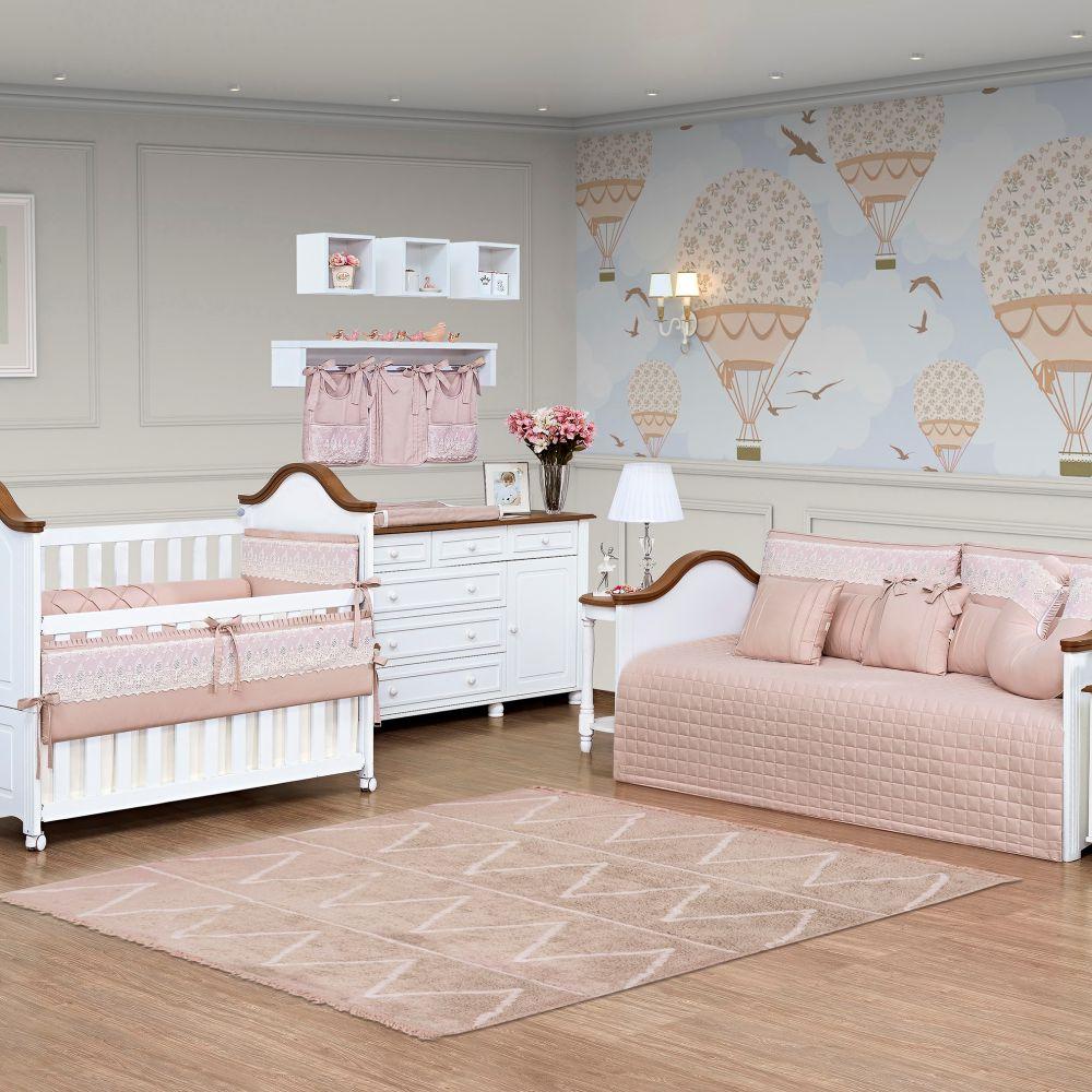 Porta Fraldas para bebê 03 peças Percal 300 Fios Lelis cor Rosa Antigo