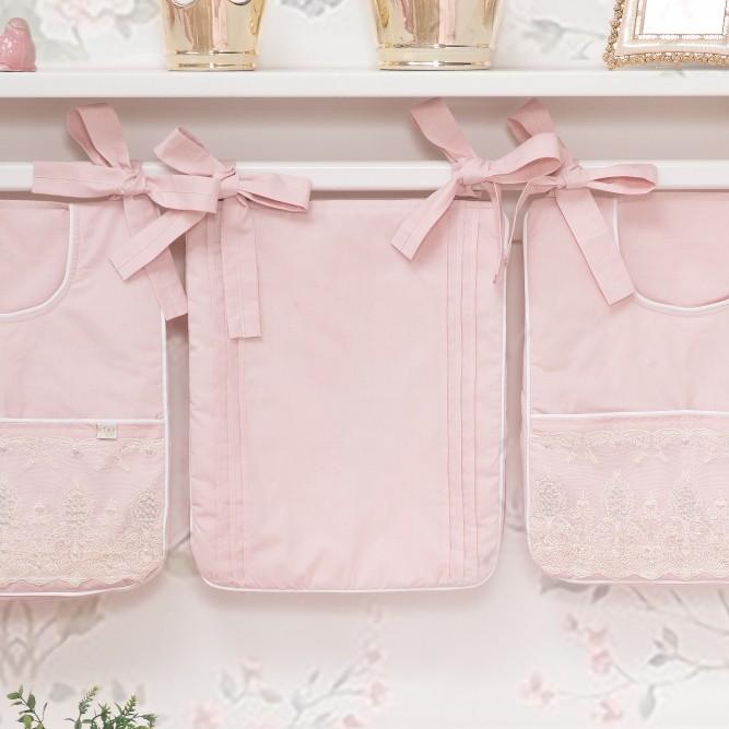 Porta Fraldas para bebê 03 peças Percal 300 Fios Lelis Rose Nude
