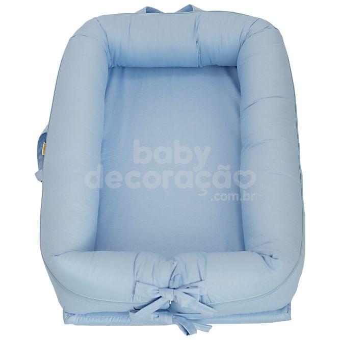 Ninho para bebê redutor de berço Percal Azul Bebê