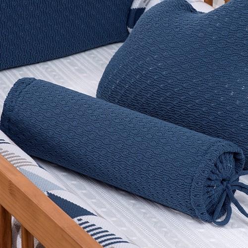 Rolinho Avulso para Mini Berço ou Berço Tricot  Pipoca Blue Jeans (40 cm x 13 cm)