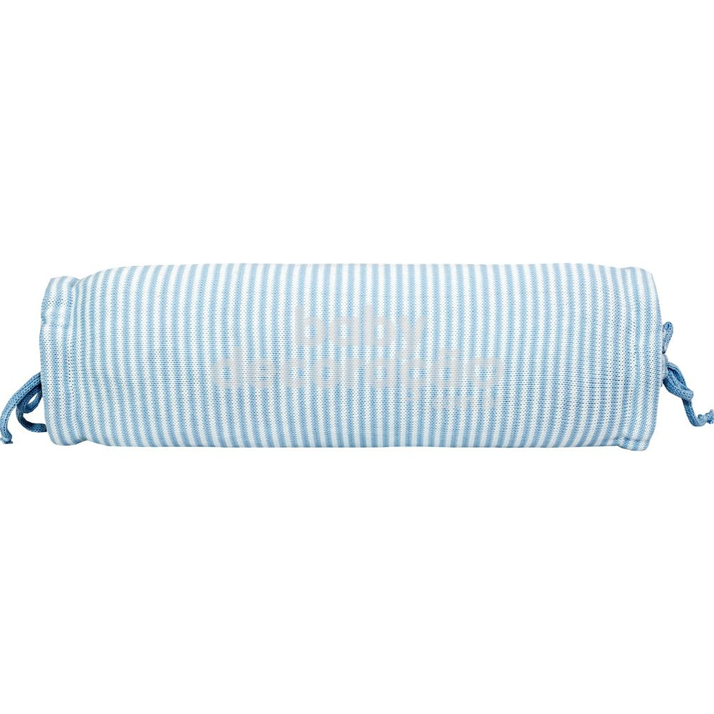 Rolinho Avulso para Mini Berço ou Berço Tricot Benjamin Azul Bebê com Branco (40 cm x 13 cm)