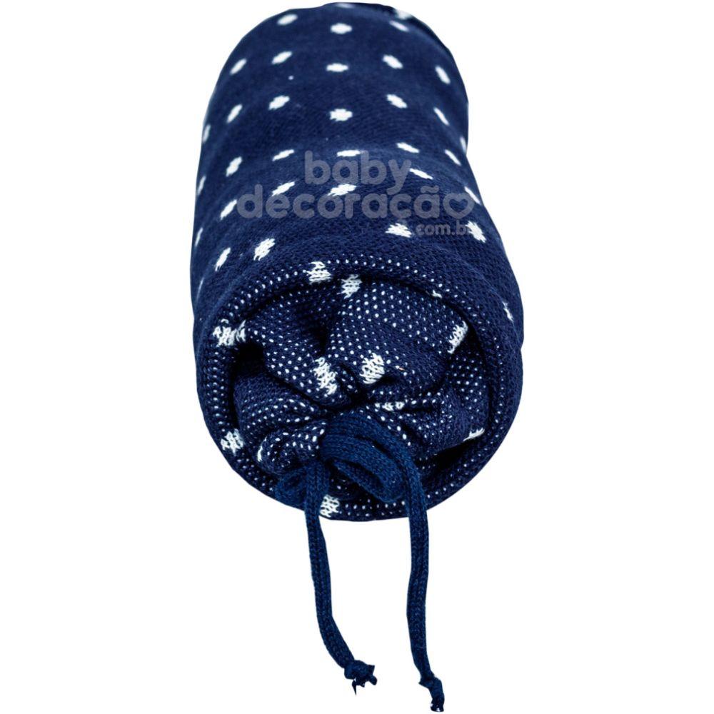 Rolinho Avulso para Mini Berço ou Berço Tricot Elliot Azul Marinho com Branco (40 cm x 13 cm )