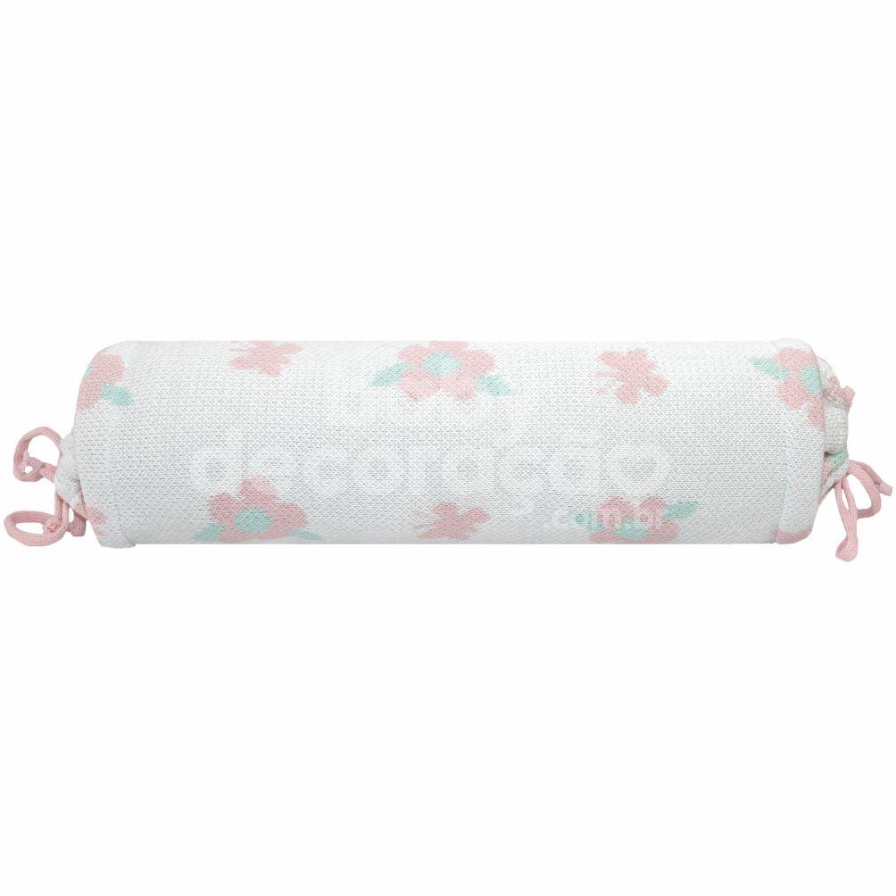 Rolinho Avulso para Mini Berço ou Berço Tricot  Jasmine Rosa (40 cm x 13 cm)