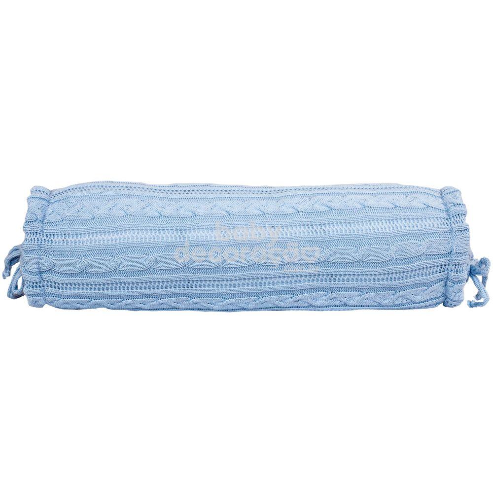 Rolinho Avulso para Mini Berço ou Berço Tricot  Lauren Azul Bebê (40 cm x 13 cm)