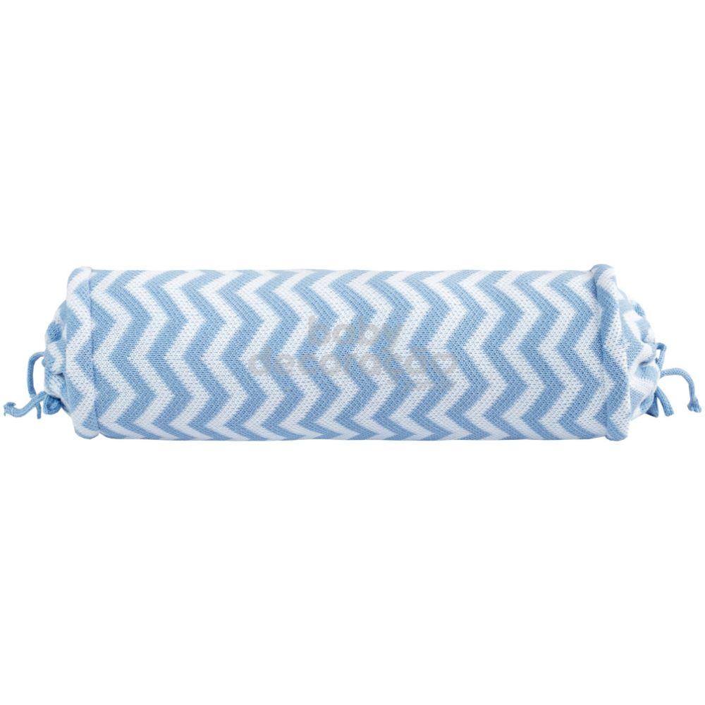 Rolinho Avulso para Mini Berço ou Berço Tricot  Sebastian Azul Bebê com Branco (40 cm x 13 cm)