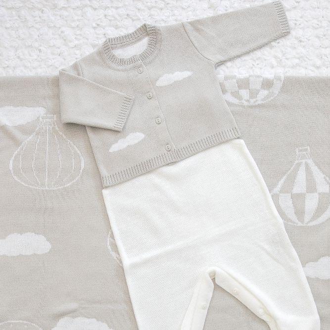 Saída Maternidade 03 Peças Tricot Benicio Cinza c/ Detalhes em Balão