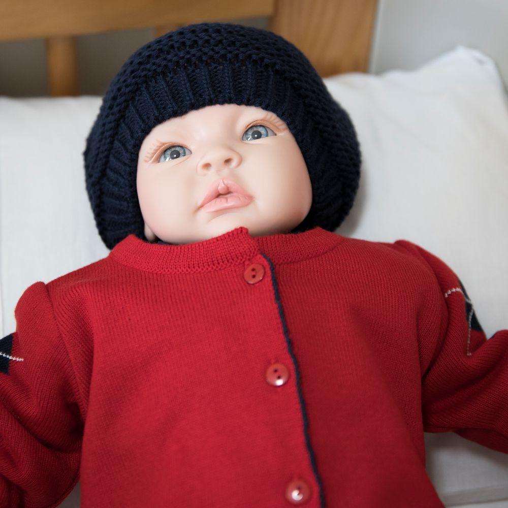 Saída Maternidade 03 Peças Tricot Bento Vermelho com Detalhes Azul Marinho