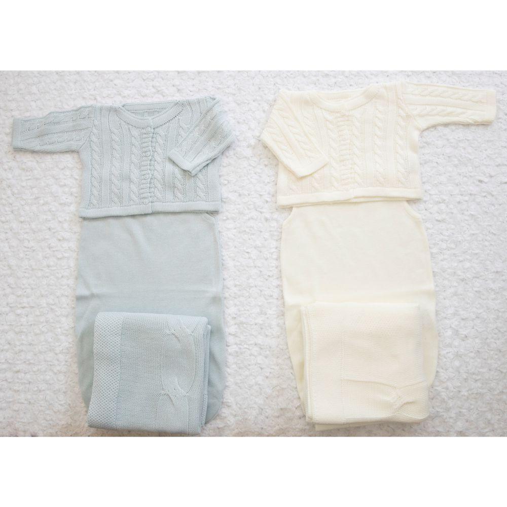 Saída Maternidade 03 Peças Tricot Cecilia Azul Bebê