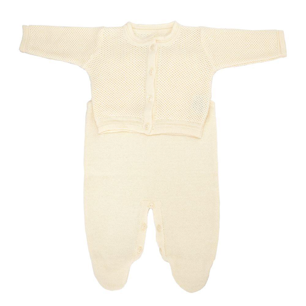 Saída Maternidade 03 Peças Tricot Elegance com Macacão Amarelo Bebê
