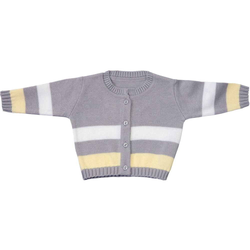 Saída Maternidade 03 Peças Tricot Léo Listrado com Calça Amarelo