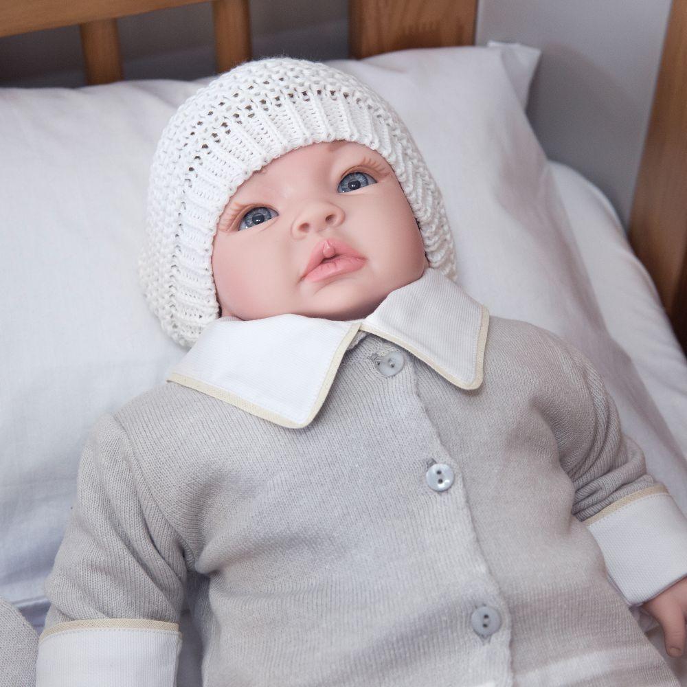 Saída Maternidade 03 Peças Tricot Martin Duas Listras com Macacão Cinza