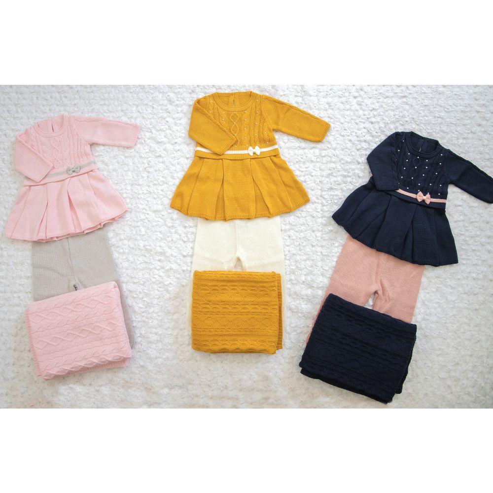 Saída Maternidade 03 Peças Tricot Vestido Amora c/ Lacinho Azul Marinho