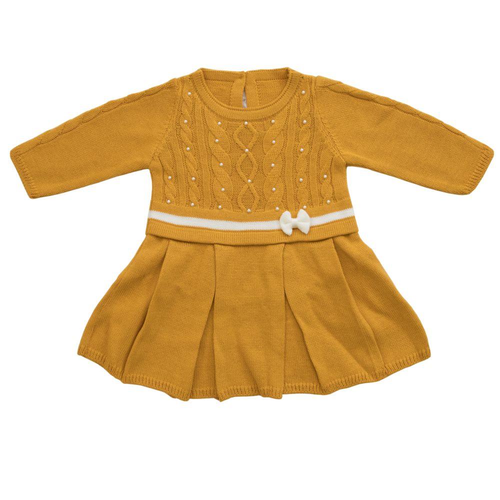 Saída Maternidade 03 Peças Tricot Vestido Amora c/ Lacinho Mostarda