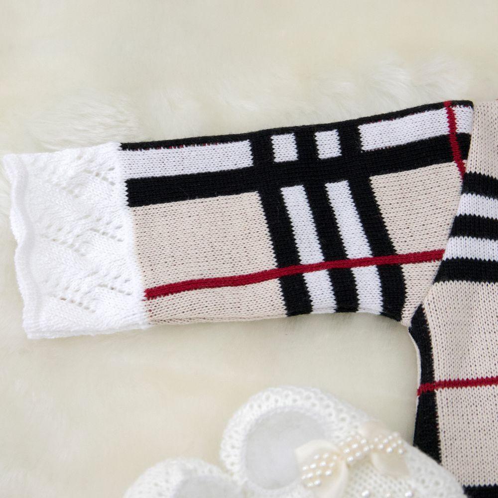 Saída Maternidade 03 Peças Tricot Vestido Betina Xadrez com Laço e Calça