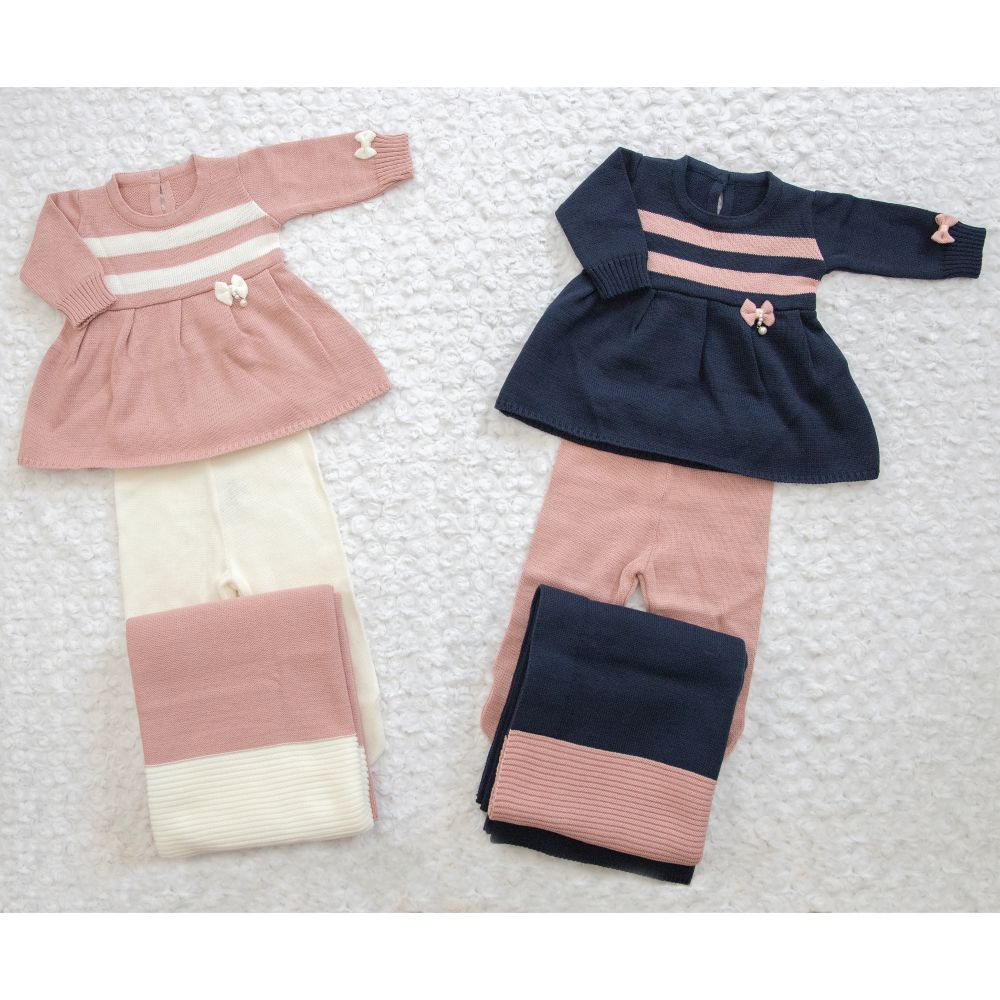 Saída Maternidade 03 Peças Tricot Vestido Bia c/ Detalhes em Listras e Laço Rosê