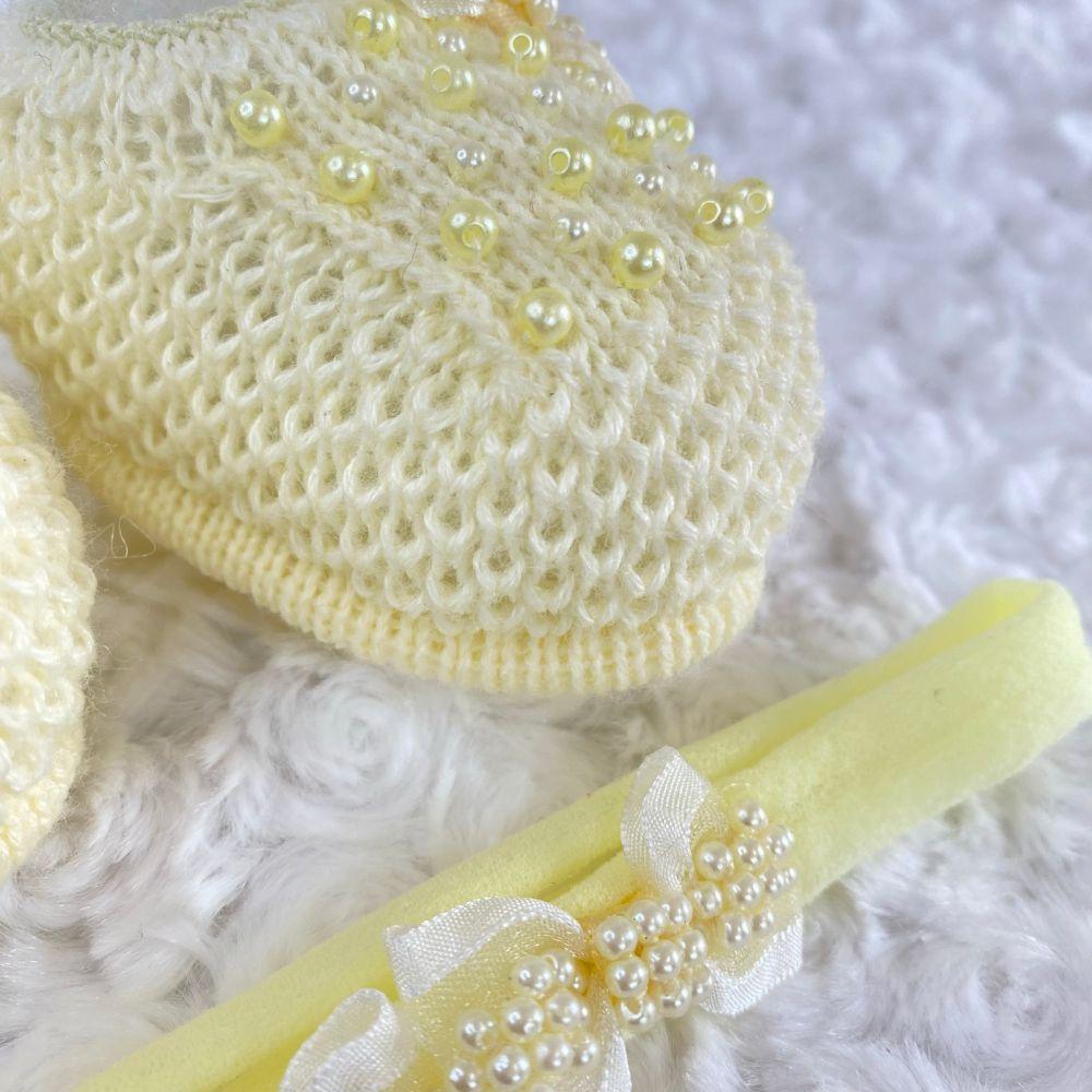 Sapatinho Tricot e Tiara c/ Dois Laços para Bebê Pérola Amarelo Bebê
