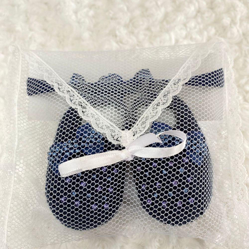 Sapatinho Tricot e Tiara c/ Dois Laços para Bebê Pérola Azul Marinho