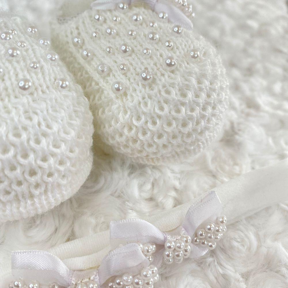 Sapatinho Tricot e Tiara c/ Dois Laços para Bebê Pérola Branco