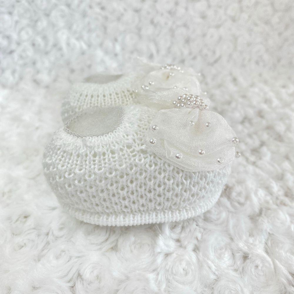 Sapatinho Tricot e Tiara para Bebê Pérola e Laço G Branco