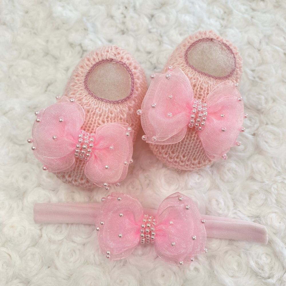 Sapatinho Tricot e Tiara para Bebê Pérola e Laço G Rosa