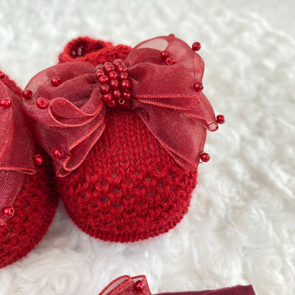 Sapatinho Tricot e Tiara para Bebê Pérola e Laço G Vermelho