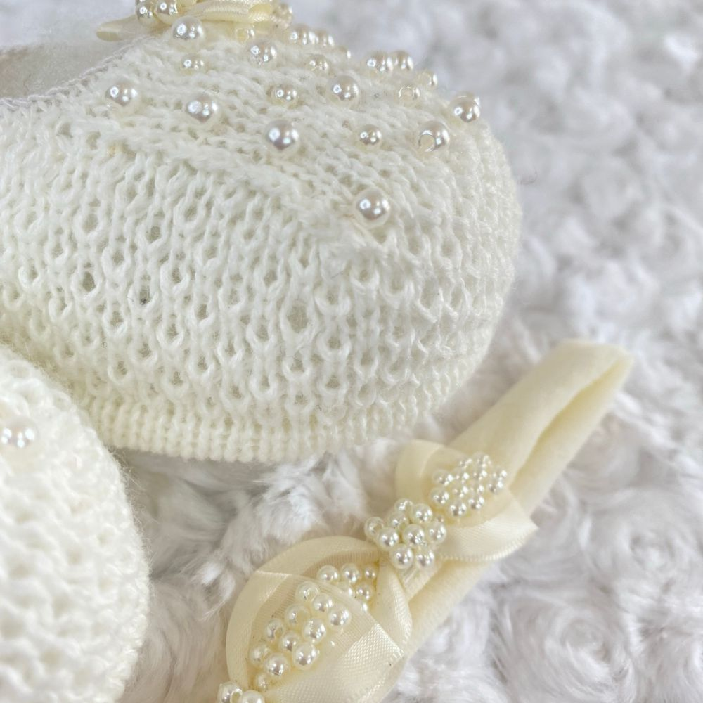 Sapatinho Tricot e Tiara c/ Dois Laços para Bebê Pérola Marfim