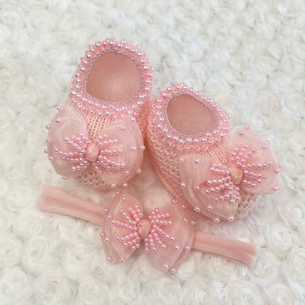 Sapatinho Tricot e Tiara para Bebê Pérola e Laço Rosa