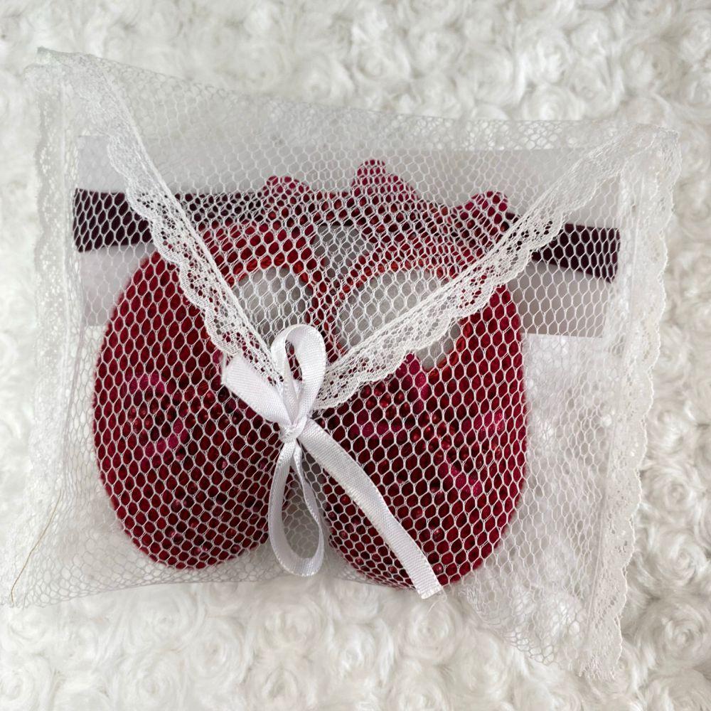Sapatinho Tricot e Tiara c/ Dois Laços para Bebê Pérola Vermelho