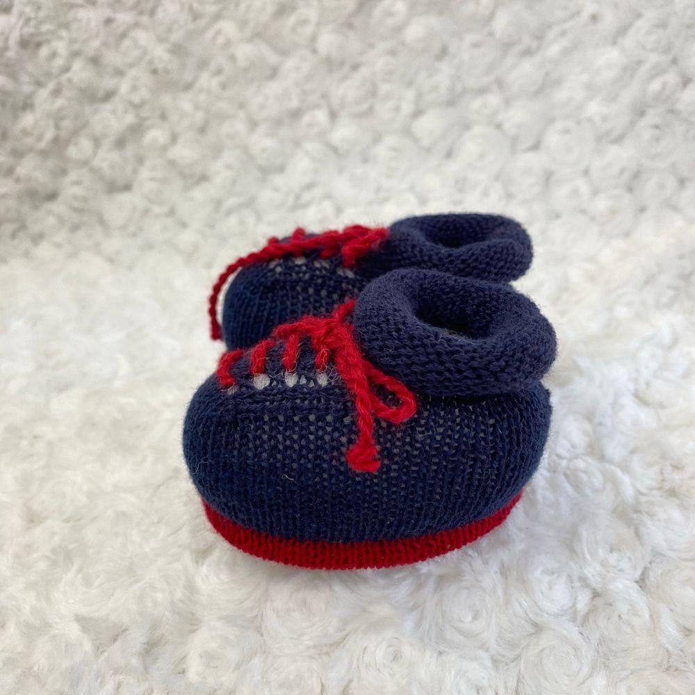Sapatinho Tricot para Bebê Basic Azul Marinho c/ Vermelho