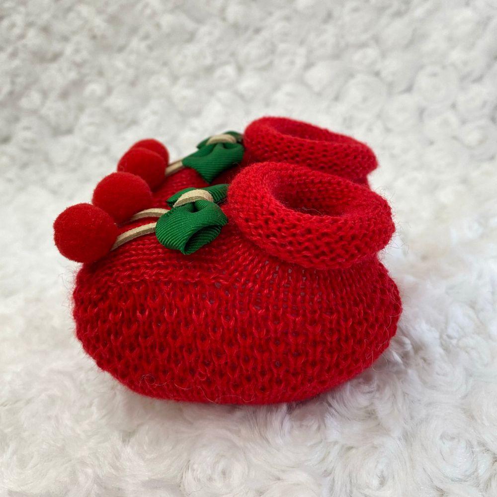 Sapatinho Tricot para Bebê Cereja Vermelha