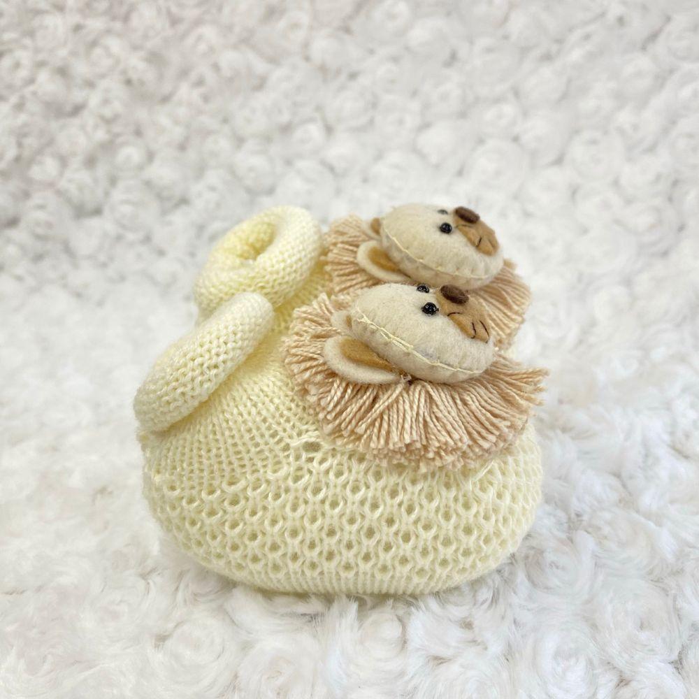 Sapatinho Tricot para Bebê Leão Marfim