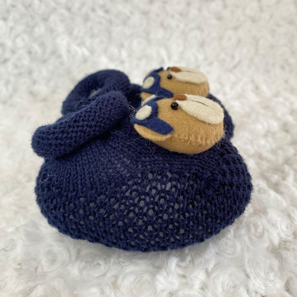 Sapatinho Tricot para Bebê Urso Azul Marinho