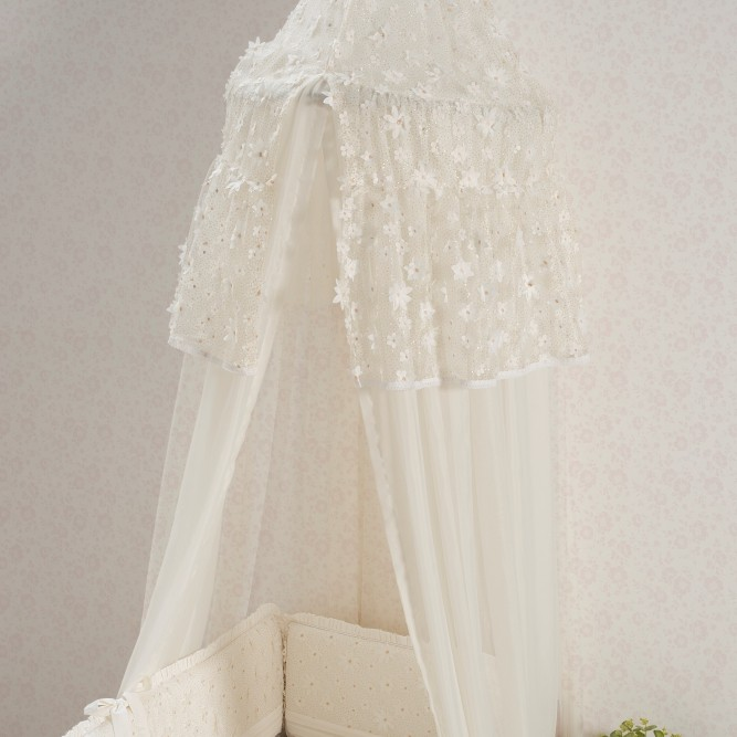 Tenda Cabaninha de Voil c/ Renda Monaco Marfim