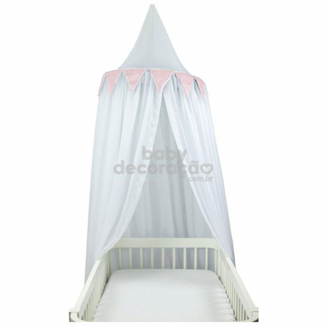 Tenda Dossel Voil Branco com Bandeirolas Rosa