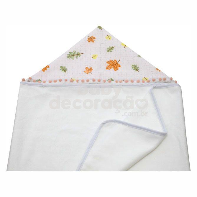 Toalha de Banho Para Bebê Felpa Aveludada  e Capuz Estampado Maya Folhas