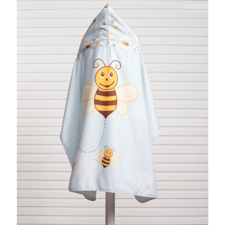 Toalha de Banho para Bebê Felpa Aveludada Estampada c/ Capuz Abelha