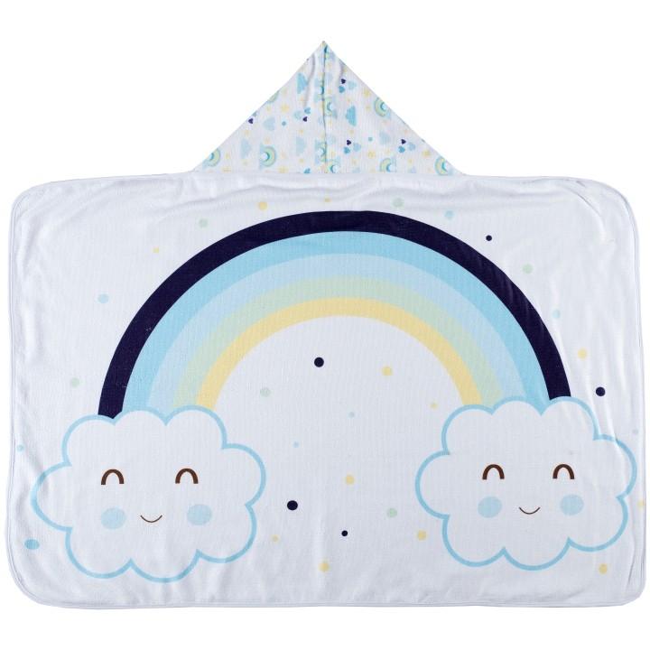 Toalha de Banho para Bebê Felpa Aveludada Estampada c/ Capuz Arco Iris Azul Bebê