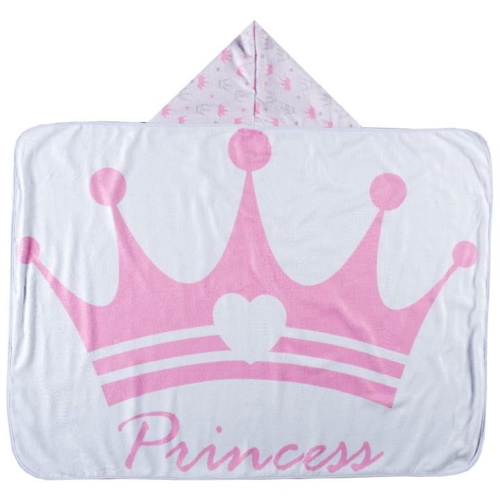 Toalha de Banho para Bebê Felpa Aveludada Estampada c/ Capuz Princess Rosa