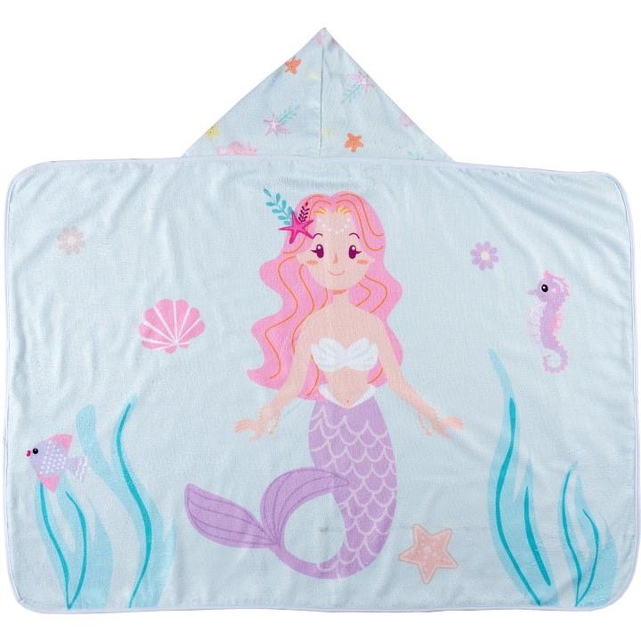 Toalha de Banho para Bebê Felpa Aveludada Estampada c/ Capuz Sereia Rosa