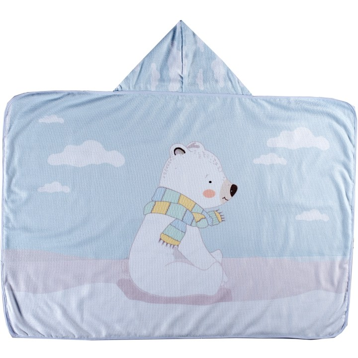 Toalha de Banho para Bebê Felpa Aveludada Estampada c/ Capuz Urso Polar Azul Bebê