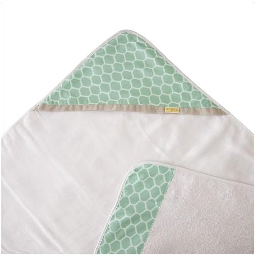 Toalha de Banho para Bebê Felpa com Forro de Fralda e Capuz Green