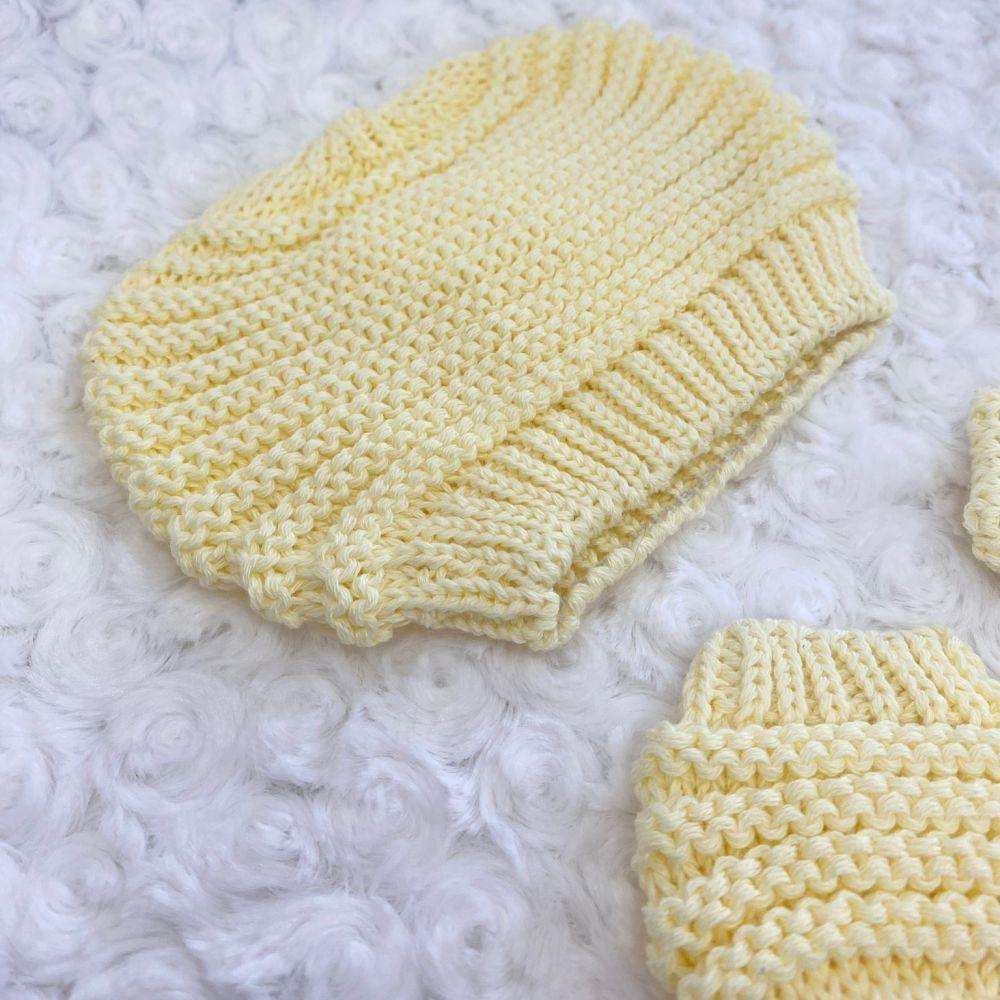 Touca e Luva 2 Peças para Bebê Tricot Amarelo Bebê