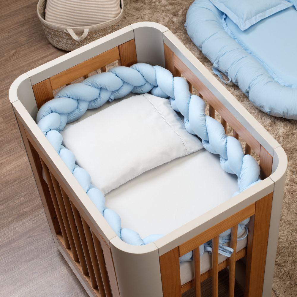 Trança Protetora De Mini Berço Percal 300 Fios Azul Bebê