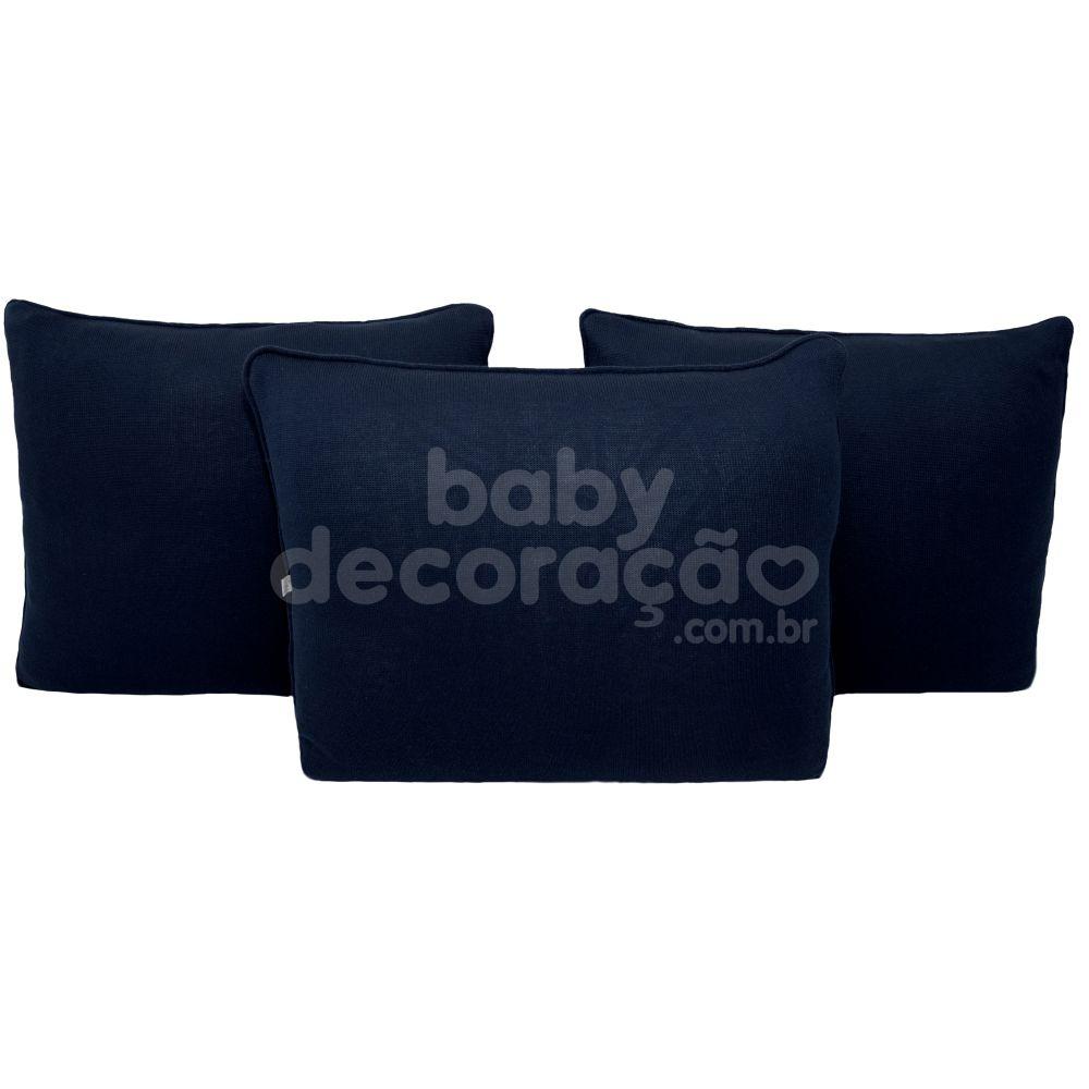 Trio de Almofadas Para Cama Auxiliar Tricot Azul Marinho