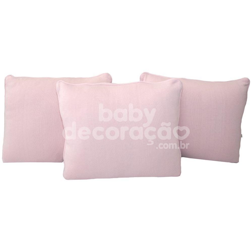 Trio de Almofadas Para Cama Auxiliar Tricot Rosa