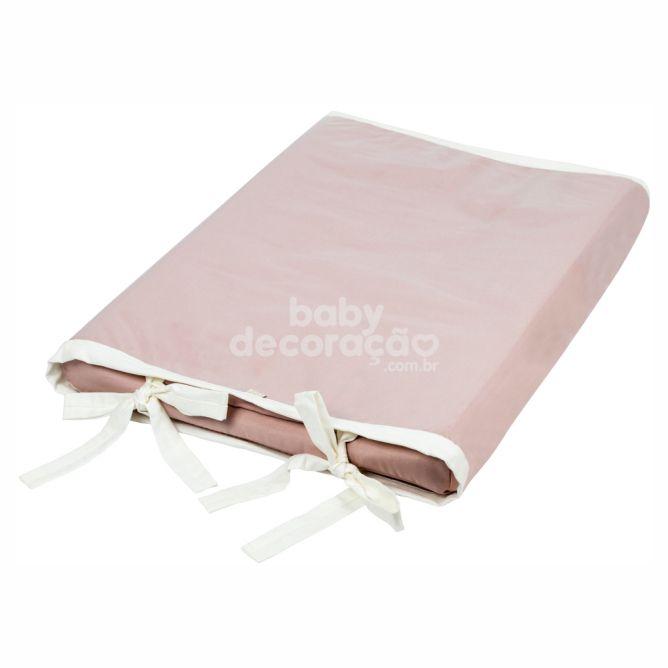 Trocador Anatômico Para Bebê Percal 300 Fios Lelis Rosa Antigo