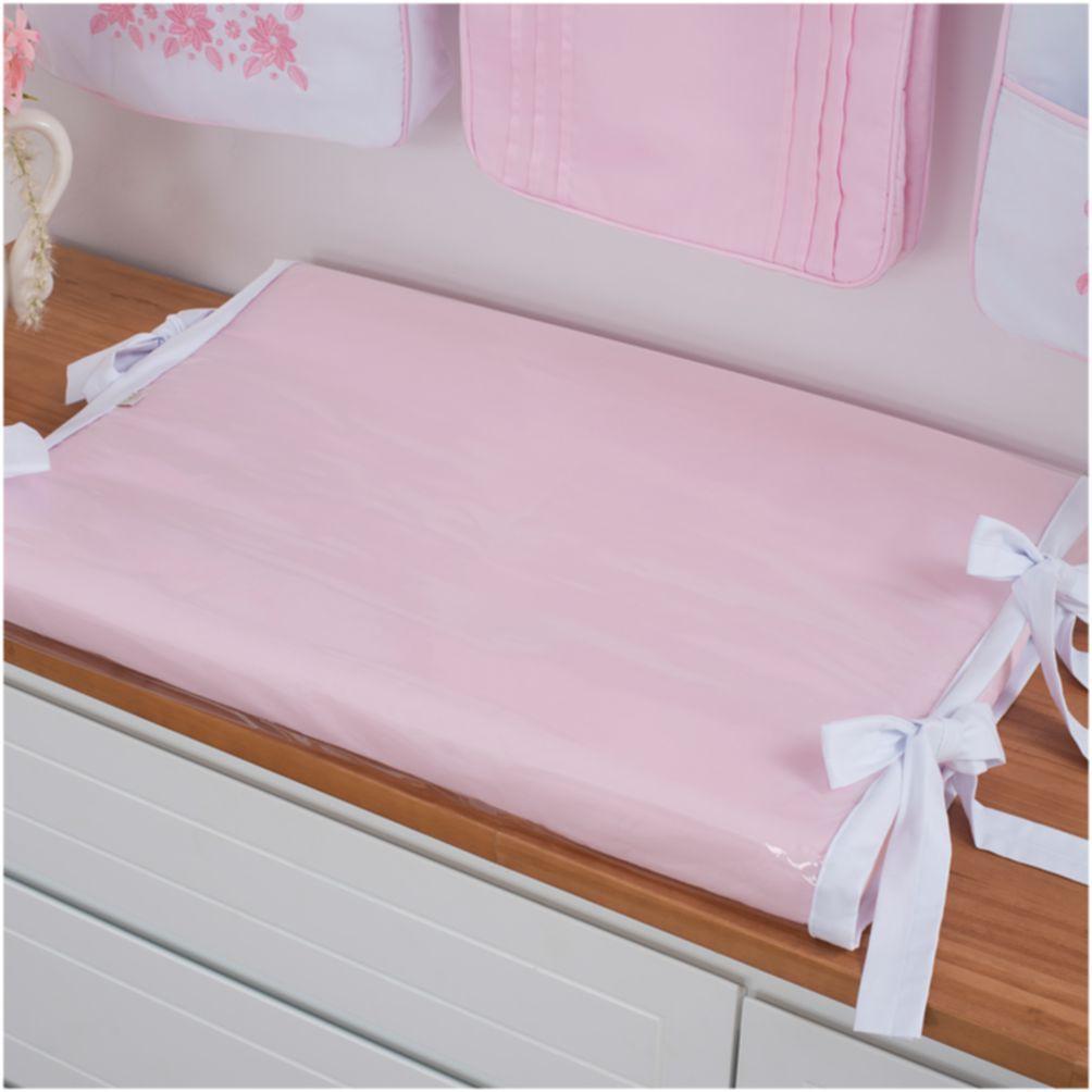 Trocador Anatômico Para Bebê Percal 300 Fios Branco Com Rosa