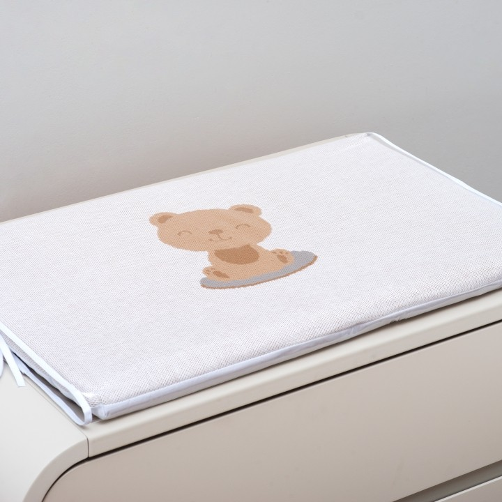 Trocador Para Bebê Espuma Baby Trico Theo Branco c/ Caqui